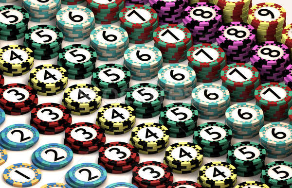 Casino Chip Stacked In Pattern of Quantity Order Stock photo © albund