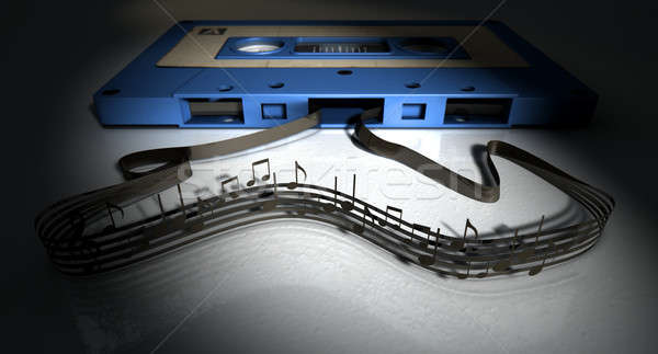 Cassette Tape And Musical Notes Concept Stock photo © albund