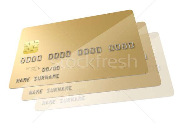 Bank hitelkártya közelkép kilátás arany általános Stock fotó © albund