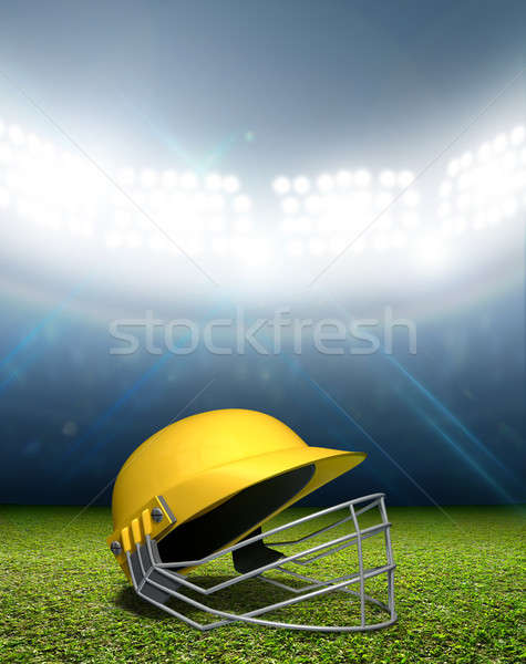 Cricket Stadium And Helmet Stock photo © albund