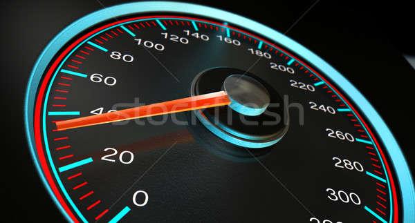 Velocímetro azul rápido acelerar regular Foto stock © albund