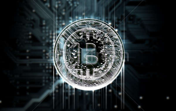 Circuit board bitcoin 3d render macro digitale Stockfoto © albund