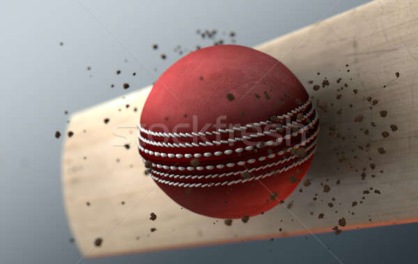 Cricket Ball Striking Bat In Slow Motion Stock photo © albund