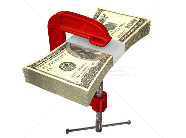 Clamped American Dollar Notes Stock photo © albund