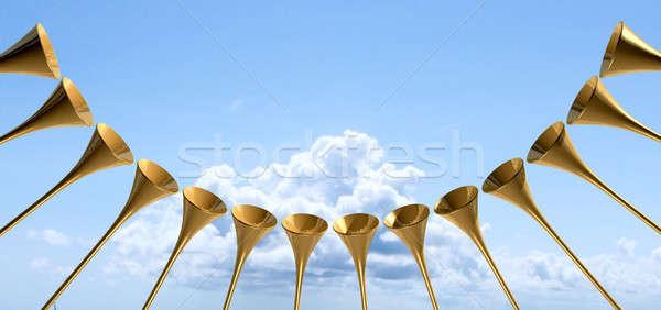Niebiański średniowiecznej trąbka kółko niebo grupy Zdjęcia stock © albund