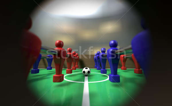Foosball Table Through A Peephole Stock photo © albund