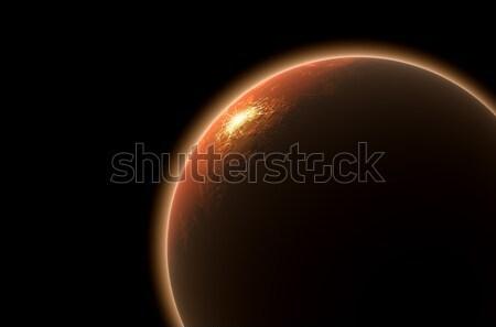 Rendering 3d pianeta sole up superficie buio Foto d'archivio © albund