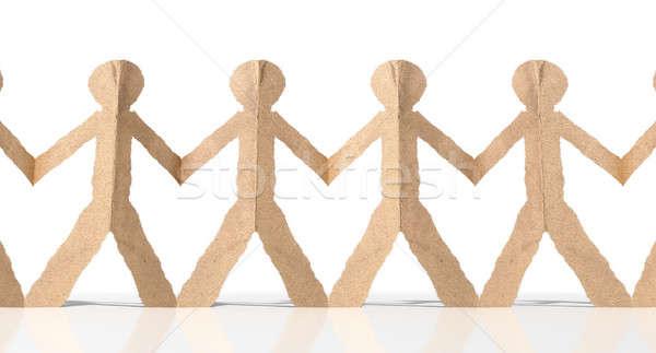 Row Of Cutout Paper Cardboard Men Stock photo © albund