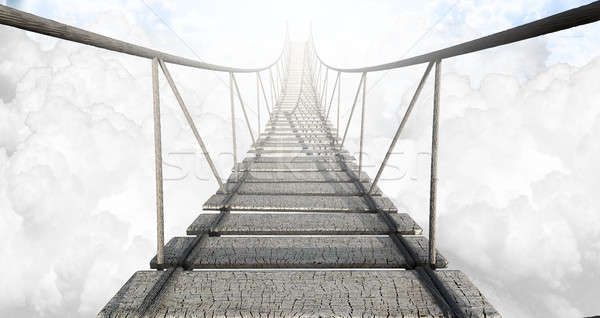 Rope Bridge Above The Clouds Stock photo © albund