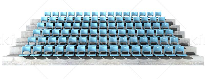 Stadyum bölüm mavi sandalye ayarlamak Stok fotoğraf © albund