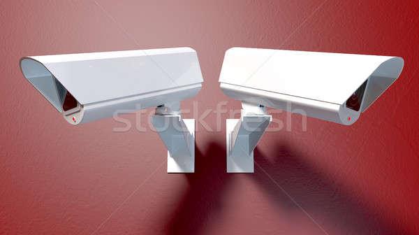 Megfigyelés fényképezőgépek piros kettő fehér drótnélküli Stock fotó © albund