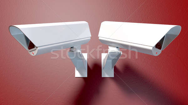 Cámaras rojo dos blanco inalámbrica Foto stock © albund