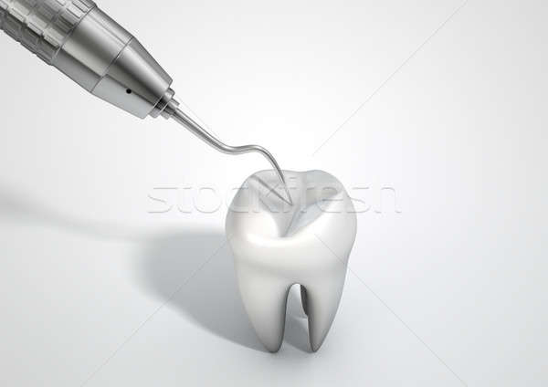 Dentists Probe Hook And Tooth Stock photo © albund