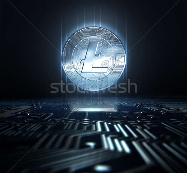 Nyáklap hologram érme űrlap számítógép 3d render Stock fotó © albund