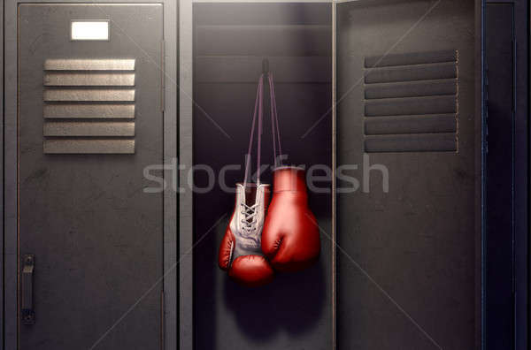 Open Locker And Hung Up Boxing Gloves Stock photo © albund