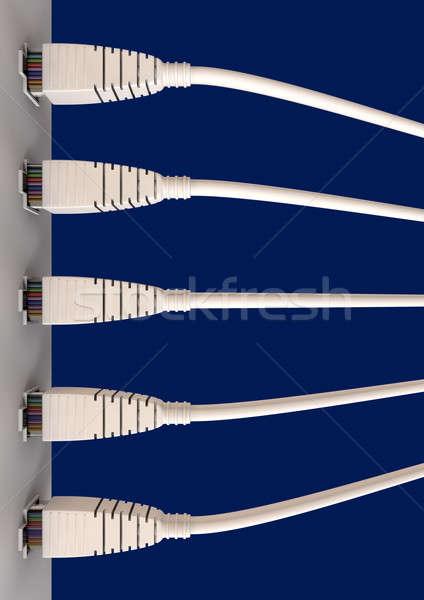 Beş ethernet kablolar soket üst görmek Stok fotoğraf © albund