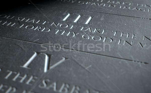 üçüncü 3d render on taş tablet Stok fotoğraf © albund