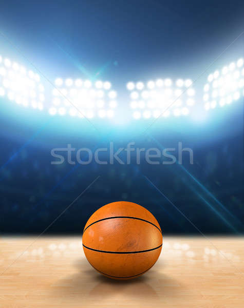 Indoor Floodlit Basketball Court Stock photo © albund