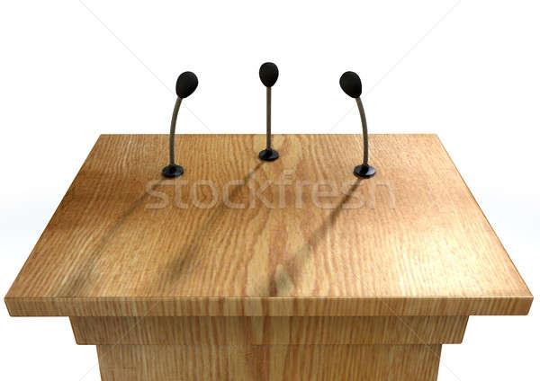 Stock fotó: Sajtótájékoztató · pódium · fából · készült · beszéd · három · kicsi