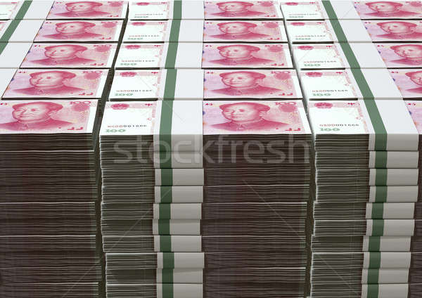 Stock photo: Yuan Notes Stacked Pile