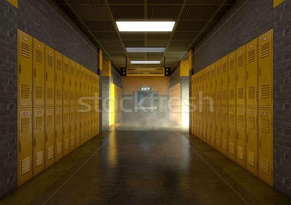 Yellow School Lockers Dirty Stock photo © albund