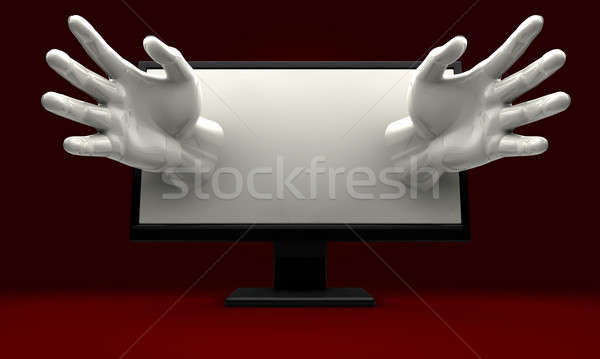 Hands Reaching out of computer monitor Stock photo © albund