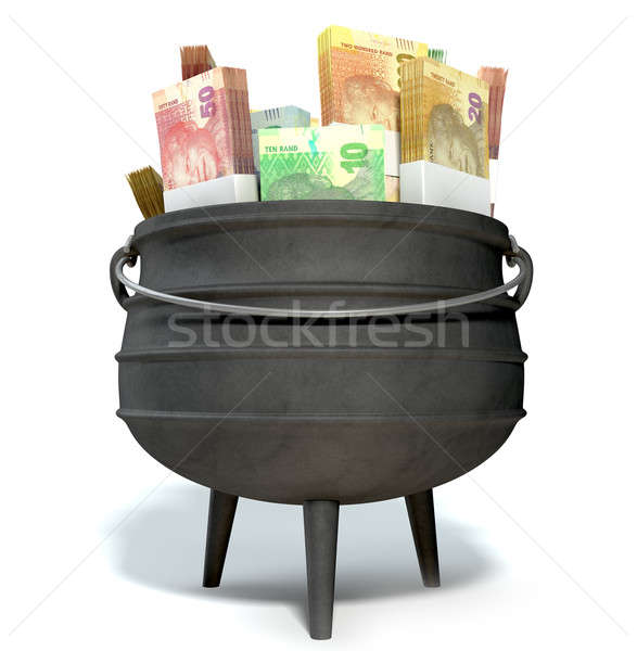 South African Potjie Filled With Rands Stock photo © albund