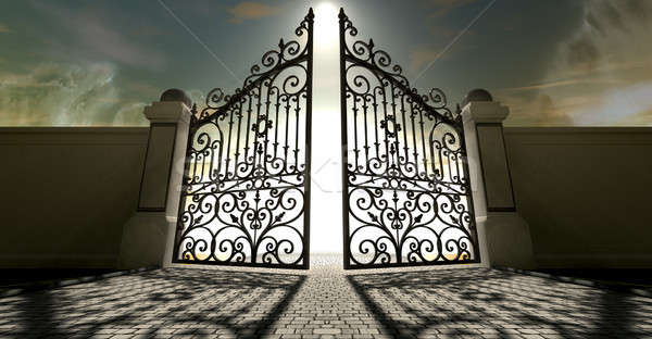 Heavens Open Ornate Gates Stock photo © albund