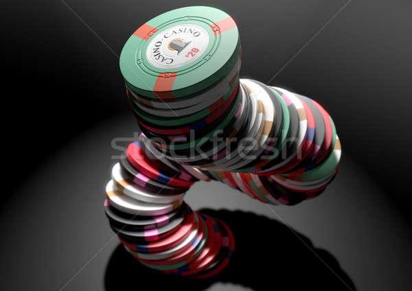 фишки казино падение различный величины изолированный Сток-фото © albund
