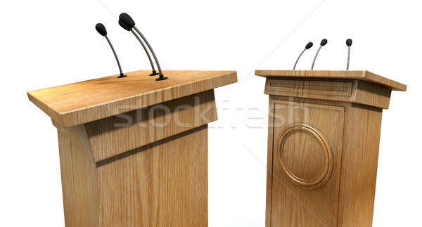 Opposing Debate Podiums Stock photo © albund