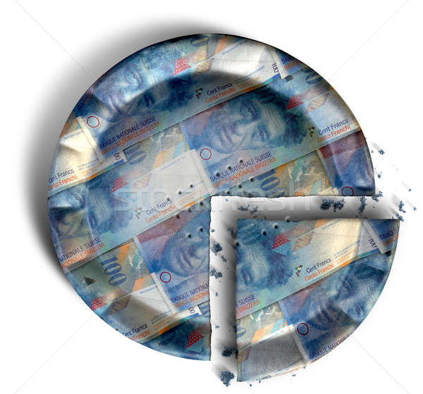 Slice Of Swiss Franc Money Pie Stock photo © albund
