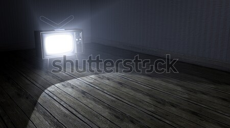 Empty Room With Illuminated Television Stock photo © albund