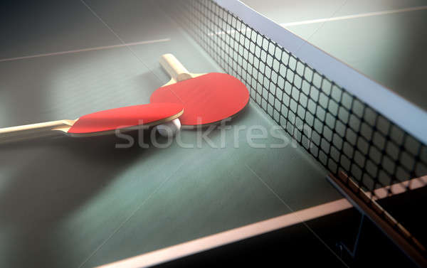 Table Tennis Table And Paddles Stock photo © albund