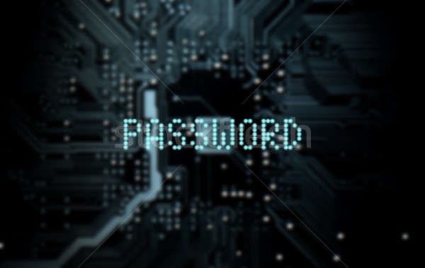 Stockfoto: Circuit · board · wachtwoord · 3d · render · macro · Blauw