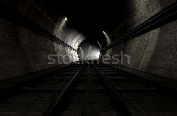 Train Tracks And Approaching Train Stock photo © albund
