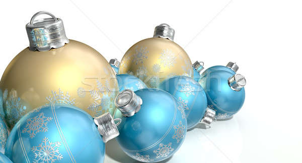 Ornate Matte Gold And Blue Christmas Baubles Stock photo © albund