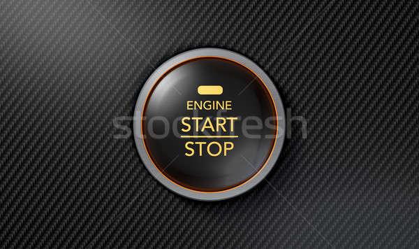 Push To Start Carbon Fibre Button Stock photo © albund