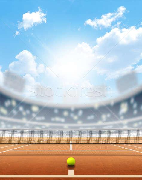 Stadion teniszpálya aréna agyag felület nappal Stock fotó © albund