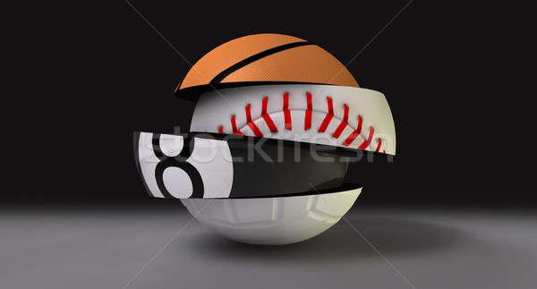 Sportok labda alakú különböző kosárlabda baseball Stock fotó © albund
