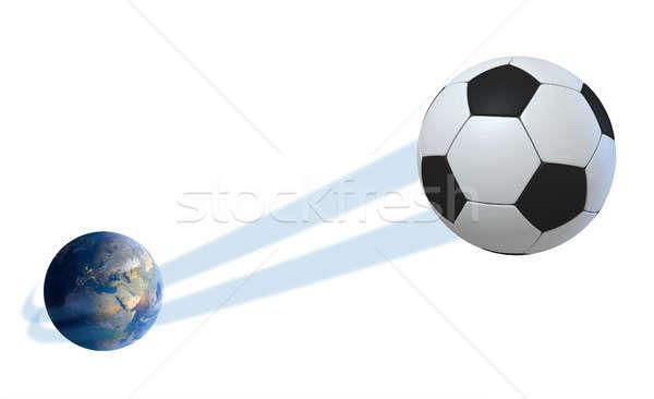 Aarde bal geïsoleerd tonen regelmatig voetbal Stockfoto © albund