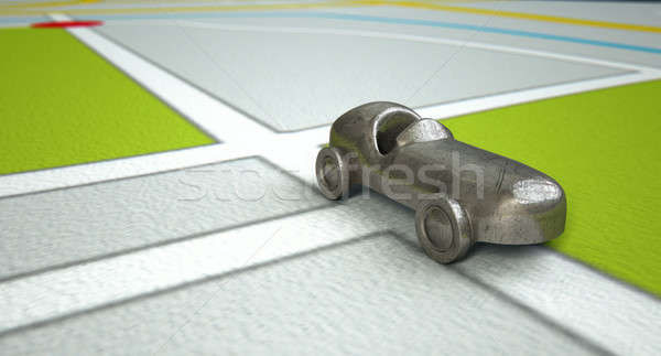 GPS Map With Metal Toy Car Stock photo © albund
