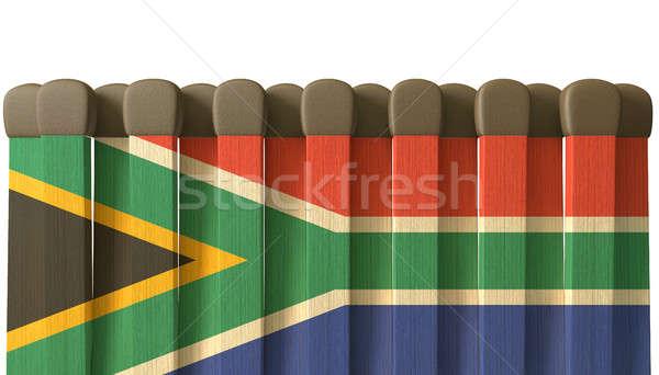Dél-afrikai gyufa közelkép nyitott könyv fa díszített Stock fotó © albund