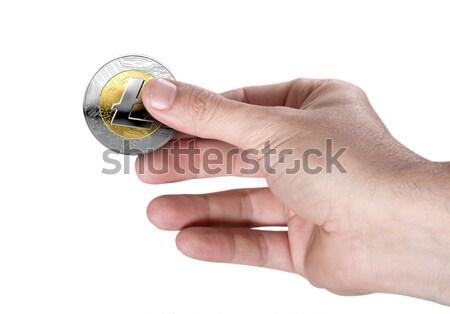 Mão bitcoin masculino ouro prata Foto stock © albund