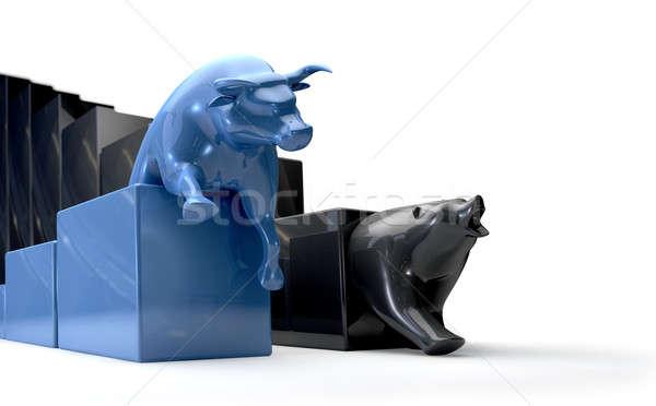 Bika medve trendek versenyző gazdasági oldal Stock fotó © albund