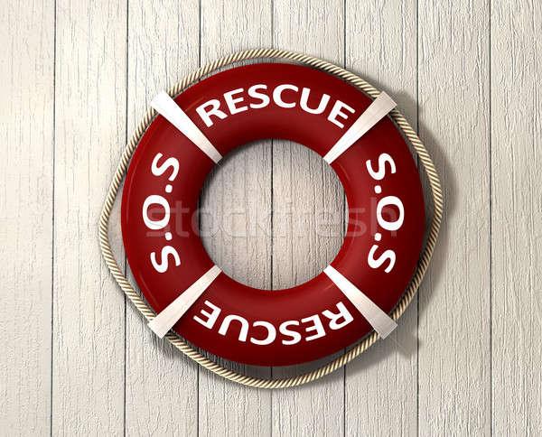 Resgatar vermelho corda em torno de palavras sos Foto stock © albund