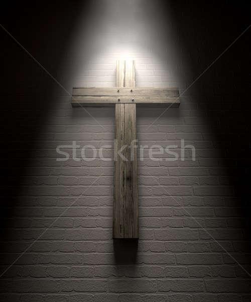 Crucifix On A Wall Under Spotlight Stock photo © albund