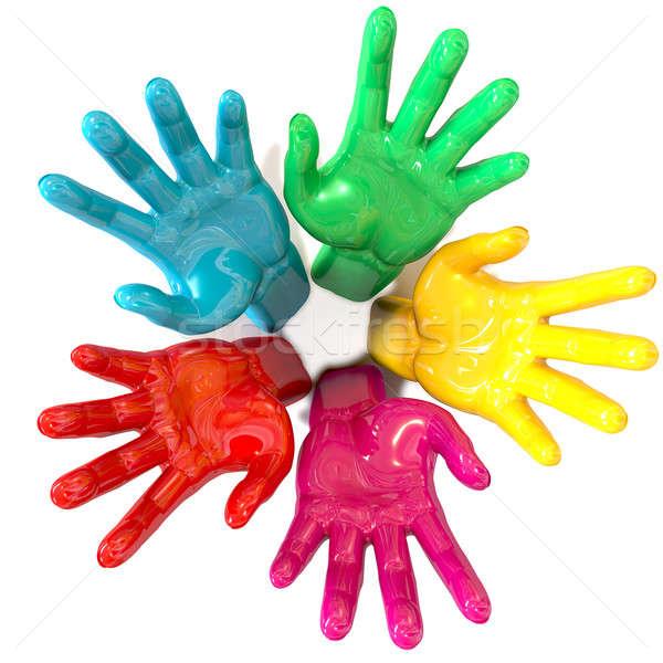 Hands Colorful Circle Reaching Skyward Stock photo © albund