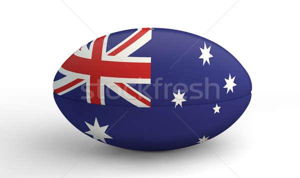 Rugby ball biały kolory australijczyk banderą Zdjęcia stock © albund