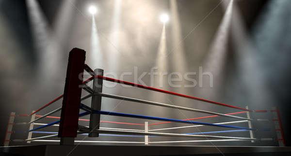 Boksen ring donkere regelmatig touwen Stockfoto © albund