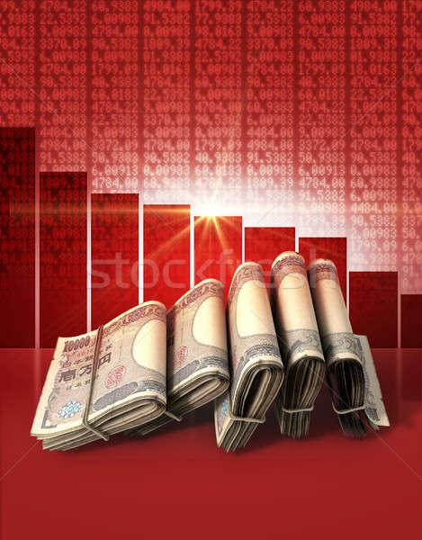 Negativo mercado dinheiro dobrado japonês yen Foto stock © albund